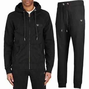 Mens Hoodies Jogger Zip True Religion Casual Hooded Cotton Hoody Bottom Black