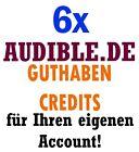 6 Stück Audible Deutschland Guthaben für Ihren Account.