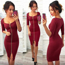 UK Womens Deep V Neck Bodycon Front Zip Cocktail Ladies Party Pencil Midi Dress Red S(uk6-8)