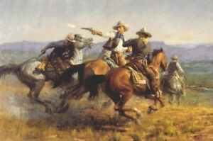 """Andy Thomas Western, American Cowboys """"Desperate Ride"""" Canvas Giclee 20 x 30"""