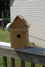 New listing Handmade Solid Cider Bluebird House Front Door Opens For Easy Access To Clean