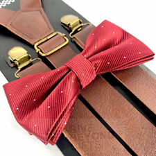 Suspender and Bow Tie Adult Brown Leather Elegant Burgundy Formal Wear Accessory