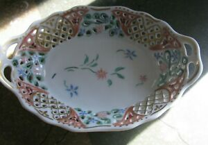 Schumann Dresden Flowers Oval Bowl Reticulated Porcelain Hand Painted Antique