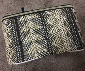Estee Lauder straw maldives tan Train Large Cosmetic Makeup Case Bag travel Bag
