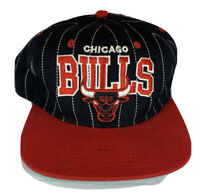 Vintage Chicago Bulls PInstipe SNAPBACK HAT NBA Mitchell & Ness Hardwood Classic