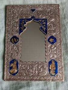 Quality 950 small Silver Enamel repousse mirror Islamic Persian Middle Eastern