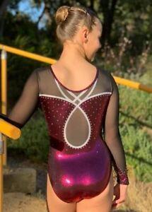 "RS Gymwear, Premium Gymnastics Long Sleeve Leotard ""Caitlin"" Cherry (RSG-238)"