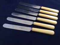 "VINTAGE 9 7/8"" DINNER KNIVES STAINLESS FAUX BONE - R F MOSLEY LTD -  SHEFFIELD"