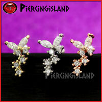 Butterfly Ear Climber Ear Cartilage Helix Tragus Stud Ring Bar Piercing Earring