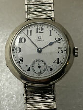 Vintage Men's Omega Wire Lugs Trench Watch Manual Wind Enamel Dial Original Cond