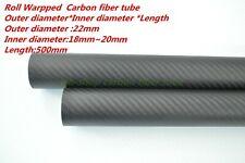 3K Carbon Fiber Tubes OD 22mm ID 18mm 19mm  20mm   Roll Wrapped X 500MM
