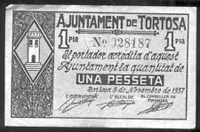 Ayuntamiento de TORTOSA 1 Peseta Noviembre 1937 @ Baix Ebre - Tortosa @