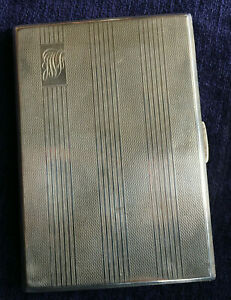 BRAVINGTONS Mayes Mills & Co. Engineer Turned Solid Silver Cigarette Case 1946
