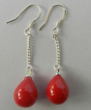 Beautiful Jewelry Red Coral Sterling Dangle Earrings Hook