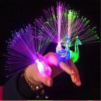 3pcs Cartoon Novelty Peacock LED Flash Finger Ring Kids Light Toys Party Decor