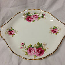 "ROYAL ALBERT AMERICAN BEAUTY HANDLED CAKE PLATE 10 3/8"" PINK ROSES GOLD TRIM"