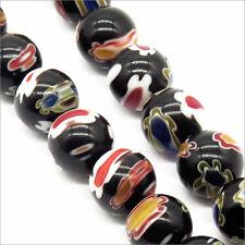 Lot de 30 Perles en Verre Millefiori 8mm Noir