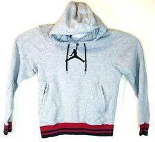 Jordan Mens Gray Red Embroidered Jumpman Hoodie Sweater Sz Small