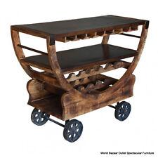 "48"" Long Bar Cart Wine Rack Rustic Bronze Wheels Solid Mango Wood Handmade"