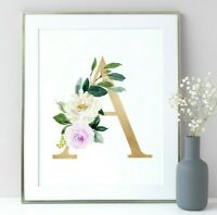 Greenery Gold Woodland Animals Personalised Monogram Nursery Art Set 6 616-A