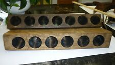 7 & 6 Hole Wooden Distressed Sugar Molds Wood Candle Holder Primitive Farmhouse