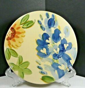 "Dining Style Vintage Ceramic Stoneware Trivet Bluebonnets Sunflowers 8"""