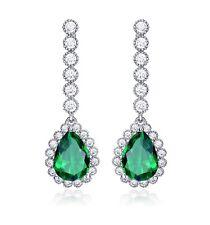 White gold finish Green emerald and created diamond pearcut drop earrings