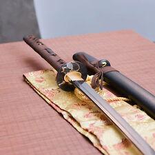 full tang Damascus  Katana japanese samurai sword with groove sharp home protect