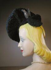 Vintage 1930s 40s Dramatic Tilt Pancake Beret Black Persian Lamb Claire's M31