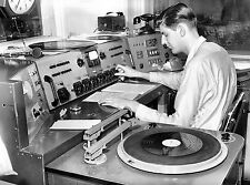 1942 Radio DJ at the studio console spinning records 8 x 10 Photograph