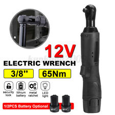12v Electric Cordless Ratchet 38 Right Angle Wrench Impact Power Tool Black