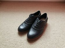 Clarks Ladies Black Leather Flat Lace Up brogues Shoes Size 4D Brand New