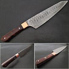 Cocobolo Wood Grip Santoku Forged Chef Knife Damascus 1095 HC Steel - White Deer