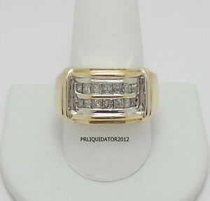 1CT MENS DIAMOND WEDDING BAND BRIDAL RING 10K YELLOW and WHITE GOLD
