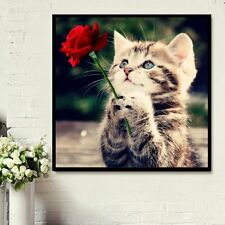 Cat and Rose DIY 5D Diamond Embroidery Painting Cross Stitch Home Decor Craft