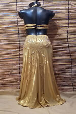 Egyptian Belly Dance Costume bra & Skirt Set Professional Dancing Gold Beads