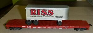 American Flyer - Gilbert HO scale  Flat Car with  Riss Trailer Load