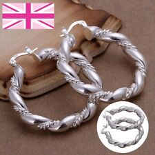 925 Sterling Silver Hoop Earrings Twisted Rope Chunky Gift UK