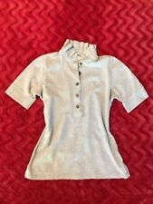 Burberry London Gray Oxford Style Short Sleeve Shirt w/ Ruffled Collar Size M