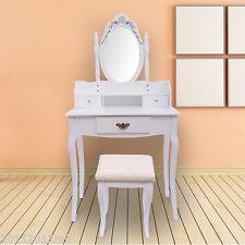 Dressing Table Makeup Mirror Stool Wood Dresser Chic Vanity Bedroom Furniture WT