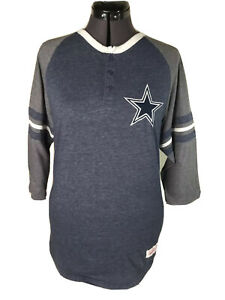 MITCHELL & NESS Throwback Dallas Cowboys Henley Soft T-Shirt Authentic Medium M