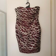 Cue Size 12 Strapless Short Dress Burgandy and Gold with Zip Detail