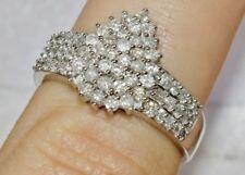 UK Hallmarked 9ct White Gold 1.00ct Diamond Ladies Large Cluster Ring - size S