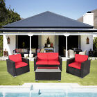 Outdoor Rattan Wicker Sofa Set Garden Cushioned Sectional Furniture 4 Pieces Red