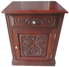 Solid Mahogany Carved 1 Drawer Bedside Locker / Table Cupboard Bs048