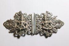 Solid silver Indian Hindu nurses belt buckle nude Saraswati Asian hand engraved