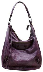 BALENCIAGA  Purple The Day Leather Hobo Bag 867054