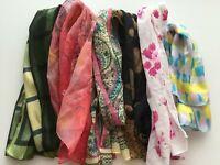 LOT 6 long fashion scarves brown roses orange floral green squares pink blue