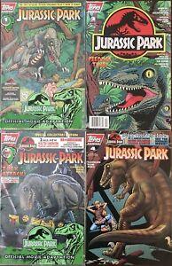 Jurassic Park 1 2 3 4 Movie Adaptation Topps 1993 Comic Book Run Set 1-4 VF/NM