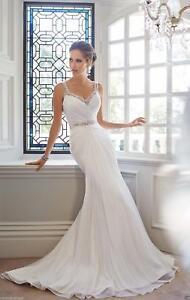 New Chiffon Mermaid White/Ivory Wedding Dress Bridal Gown Custom Size 6-16+